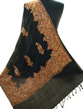 Rose Gold Crewel Embroidery on Black Wool Shawl Embroidered Stole Kashmir Ari