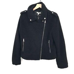NEW Max Studio Faux Shearling Zip Moto Jacket black fleece coat zipper L cozy
