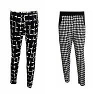 NEW WOMEN'S LADIES DOGTOOTH CHECK PRINT SKINNY TAPERED PANTS TROUSERS SIZES 8-14