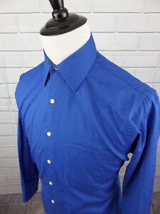 J.Garcia Men's Striped Long Sleeve Blue Dress Shirt size 15.5 32/33
