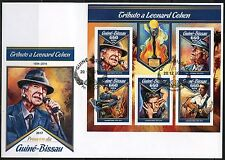 GUINEA BISSAU 2016 TRIBUTE TO LEONARD COHEN SHEET FIRST DAY COVER