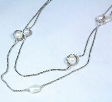 """New David Yurman Pearl Cable Wrap Long Chain Station Necklace Silver 48"""" $1100"""