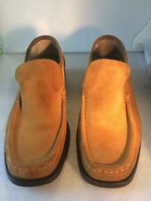 VINCENTI BROWN Nubuck/Suede LOAFERS DRIVING SHOES MEN 42~8.5/9 US Made in Italy