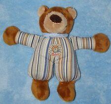 """Sigikid Plush Brown Teddy Bear Blue Tan Stripe Body Soft Stuffed Toy 9"""""""