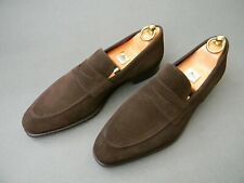 Carmina D.Brown Suede Split-toe Penny Loafers Mens Shoes 9UK 10US 43EU
