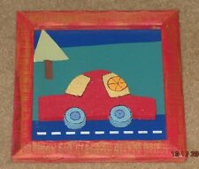 Child's BEDROOM PLAYROOM Baby Nursery WOODEN WALL PICTURE Red Car 3D Art Wood