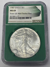 1987 AMERICAN EAGLE 1 OUNCE SILVER DOLLAR NGC MS 69  FROM US MINT SEALED BOX