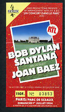 1984 Bob Dylan Santana Joan Baez Unused Full Concert Ticket Parc De Sceaux Paris