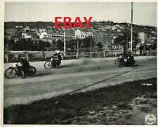 WWII RARE 8X10 PHOTO US ARMY SIGNAL CORPS MOTORCYCLE RACING ACTION HARLEYS? LOOK