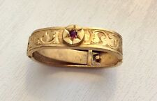Lovely Antique Victorian 15 Carat Gold Ruby Set Cravat Clip Nice 15CT