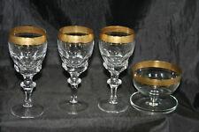 lot de 4 verres en cristal taillé à bordure dorée