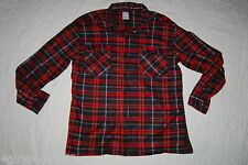 Mens L/S Shirt RED BLACK PLAID Button Down FLEECE Two Pockets M 38-40