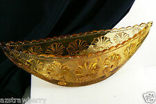 Vintage Pressed Glass Amber Color Shell and Beads Pattern Canoe Dish Bowl 4 legg
