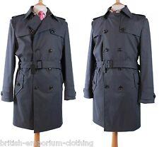 BNWT DUCHAMP Gunmetal Grey DB COTTON/POLYURETHANE Belted Trenchcoat Coat Uk44