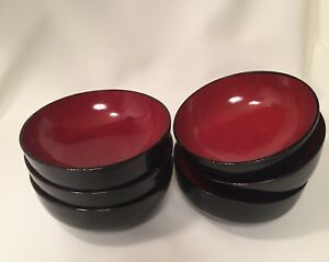 Contemporary Ridged Red Black Melamine Small Rice Miso Soup Bowl Set Of 6