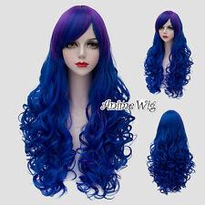 Lolita Blue Mixed Purple Long 75CM Curly Fashion Women Cosplay Wig + Wig Cap