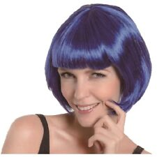 BLUE BOB WIG ADULT FANCY DRESS DISCO SUPERHERO FLAPPER PARTY
