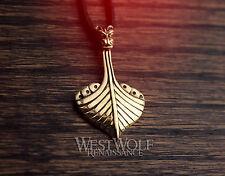 Viking Drakkar Dragon Long Ship Pendant -- Norse/Medieval/Gold/Bronze/Jewelry