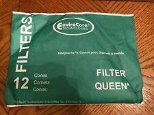 EnviroCare Replacement Vacuum Filter Cones for Filter Queen 12 Cones & 2 Filters