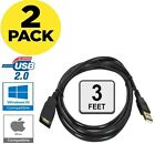2 PACK USB 2.0 High Speed Extension Cable Male A to Female A Powered Data Sync