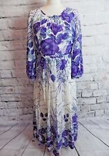 vintage YARDOS lined maxi dress 10 petite white purple floral long sleeve 1970s