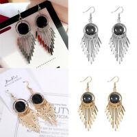 Women Vintage Black Stone Stud Earrings Long Chain Tassel Dangle Jewelry Gift