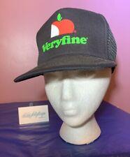 VTG Veryfine Fruit Apple Juice TRUCKER SNAPBACK HAT Cap MADE IN USA Farm Black