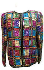 Vintage Laurence Kazar Sequin Beaded Womens Silk Jacket Size Medium Multi Color