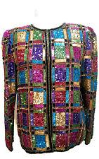 Vintage Laurence Kazar Sequin Beaded Womens Silk Jacket Size Medium Multi Color