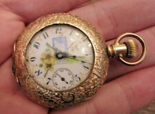 Case Fancy Dial Ladies Pocket Watch Antique 1891 Waltham 0s 11j Hunting
