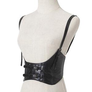 Fetish Leather Shoulder Waist Belt Women Wide Stretched Elastic Corset Waistband