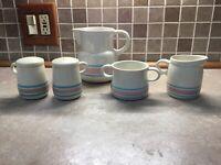 5 pcs McCoy Pottery Blue/Pink Stripes -Salt & Pepper,water pitcher,cream & Sugar