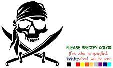 "Pirate Skull and Cross Swords Jolly Roger Vinyl Decal Sticker Car Window 6"""