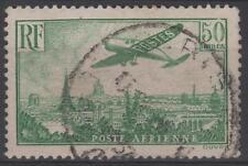 "FRANCE AERIEN N° 14 "" AVION SURVOLANT PARIS 50F VERT JAUNE "" OBLITERE TB  N572"