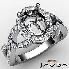 Cross Shank Oval 0.6Ct Diamond Engagement Halo Ring 14k White Gold Semi Mount