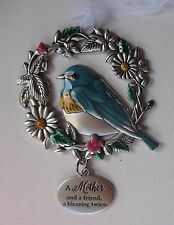 FD A mother & friend blessing 2x BLESSED BEYOND MEASURE Bird Ornament car charm