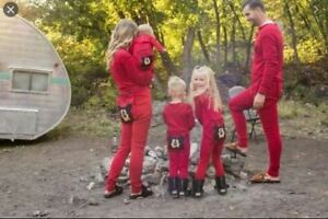 Family mens ladies kids baby all in one pyjama loungewear red bear bum RRP £40