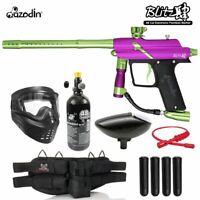Maddog Azodin Blitz 4 Silver HPA Paintball Gun Package Purple / Green
