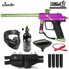 Maddog Azodin Blitz 4 Silver Hpa Paintball Gun Package Purple / Green
