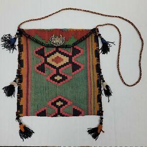 Vtg Handmade Hand-Woven Turkish Kilim Rug Bag Boho Southwestern Design Tassel