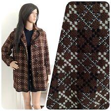 Vintage 60s Brown Black Welsh Tapestry Melin Mod Geo Wool Coat Jacket M 12 14 40