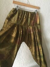 Women's Parachute Bollywood Dance Pants S M ? Low Crotch Harem Pants