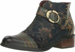 L`Artiste by Spring Step Women's Leather Booties Flash  5, Blue Multi