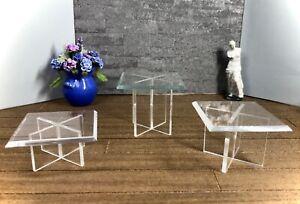 1:12 Dollhouse miniature modern 3 beveled glass effect side table set
