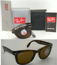 Ray-Ban RB 4105 710/57 50mm Folding Wayfarer Light Havana Frame Brown Polarized