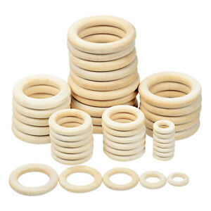 Wood Circle 15mm-100mm Unfinished Wooden Rings DIY Teething Ring Baby Teethers