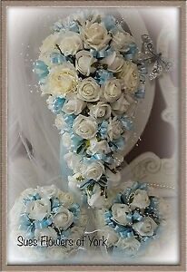 Lovely Brides Teardrop and two bridesmaids  Set Bouquet in Pale Blue &Ivory