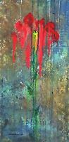 """FLOWERS PAINTING Roses Signed """"Storm Drain"""" 30x15 gallery wrap by Steven Graff"""