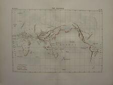 1886 Antique Map ~ The Volcanos Volcanic Regions Japan Java Asia