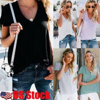 US Women Casual V Neck Plain Blouse Ladies Short Sleeve Top Summer Beach T Shirt